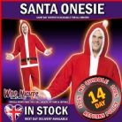 "CHRISTMAS FANCYDRESS COSTUME # Christmas Santa Costume, Red, All in One with Hood MEDIUM MED 38""-40"""